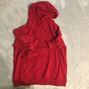 american eagle red oversized hoodie